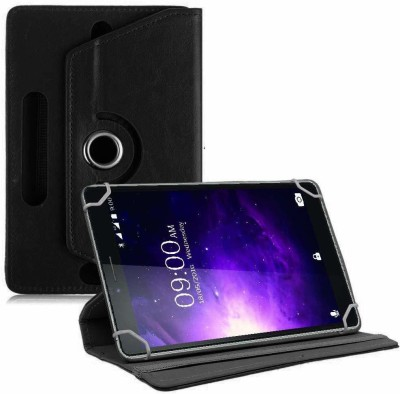 TGK Book Cover for Lava Magnum X1 T70 Tablet 6.98 inch Rotating Leather Case(Black, Cases with Holder)