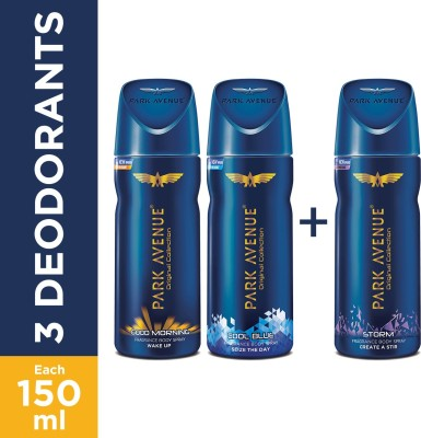 Park Avenue Good Morning , Cool Blue & Storm Deodorant Spray  -  For Men(450 ml, Pack of 3)