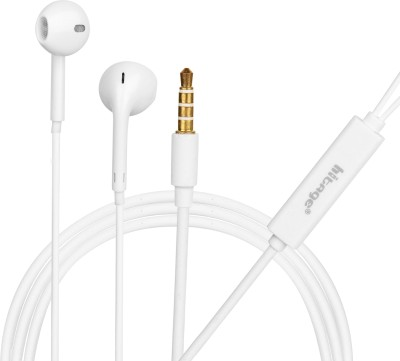 Hitage in-Ear Big bass earphone Wired Headset with Mic (White) Wired Headset(White, Wired in the ear)