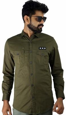Indi Hemp Men Solid Casual Green Shirt