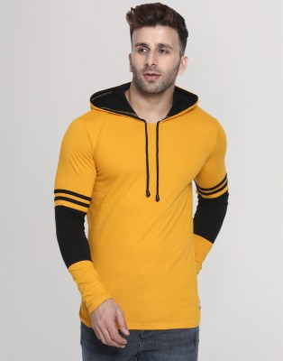 Helmont Solid Men Hooded Neck Yellow T-Shirt