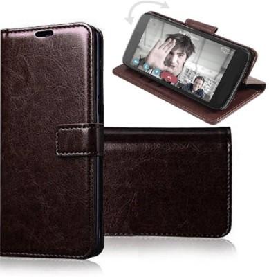 Krofty Flip Cover for Realme Narzo 10, Realme 5, Realme 5s, Realme 5i(Brown, Dual Protection)