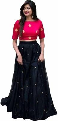 nena fashion Embroidered Semi Stitched Lehenga & Crop Top(Multicolor)