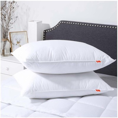 BOONYA Polyester Fibre Solid Sleeping Pillow Pack of 2  (White)