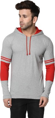 FASHION AERO Color Block Men Hooded Neck Grey, Red T-Shirt