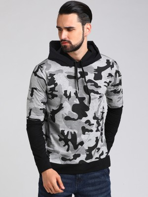 LEWEL Military Camouflage Men Hooded Neck Grey, Black T-Shirt