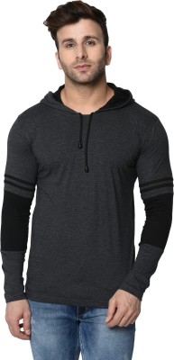 Ronit Leading Clothing Solid Men Hooded Neck Grey T-Shirt