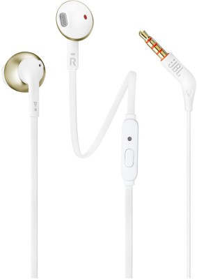 JBL T205 Wired Headset with Mic(Gold, In the Ear)