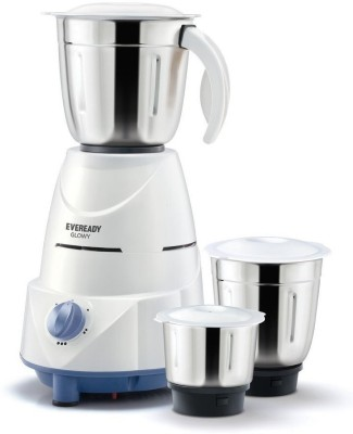 Eveready glowy Glowy 500 Mixer Grinder(White, 3 Jars)