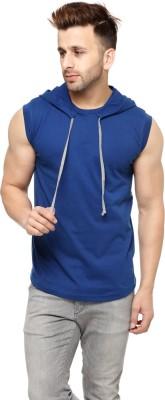 Fascista Solid Men Hooded Blue T-Shirt