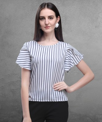 Oomph! Party Butterfly Sleeve Striped Women White Top