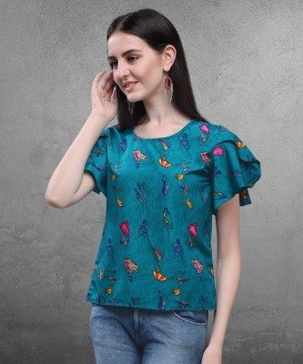 Oomph! Party Butterfly Sleeve Printed Women Blue Top