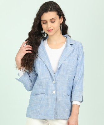 AND Self Design Single Breasted Casual Women Blazer(Light Blue)