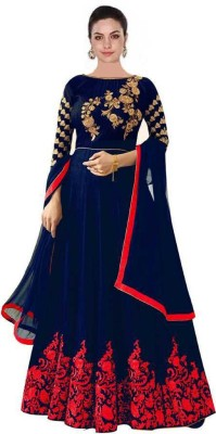 Mohnish Fashion Women A-line Blue, Red Dress