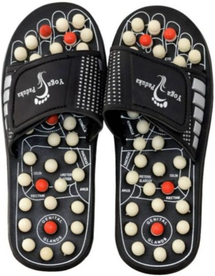 ZURU BUNCH ZB YOGA PADUKA 07 BLACK ZURU BUNCH Spring Acupressure Magnetic Therapy Sandals/Foot Massager Slipper/Acupressure Foot Relaxer/Rotating Acupressure Foot Slippers for Men & Women:- SIZE 7UK (BLACK) Massager(Black)