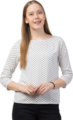 Lesuzaki Casual 3/4 Sleeve Polka Print Women White Top Lesuzaki Women's Tops