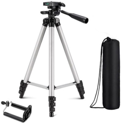 techobucks Best Quality New Arrival Portable DSLR, Video Camera stand mobile holder with long adjustable stand and flexible Clip & Aluminium Body Lightweight Tripod Tripod(Silver, Black, Supports Up to 1500 g) 1