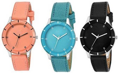Romofy New Stylish -G-605-Full Orange Black & Sky Blue 3 Combo Watch - For Girls &Women Watch - For Girls watches girl watch Analog Watch  - For Women