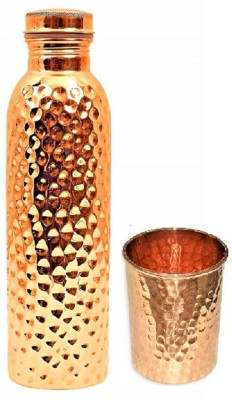 AKOSHA HAND MADE HAMMERED FINISH COPPER BOTTLE 1000 ML & GLASS 350 ML 1000 ml Bottle(Pack of 1, Copper, Copper)