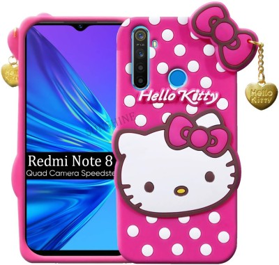 Sunshine Back Cover for Mi Redmi Note 8 3D Hello Kitty Silicone With Pendant(Pink, Grip Case)