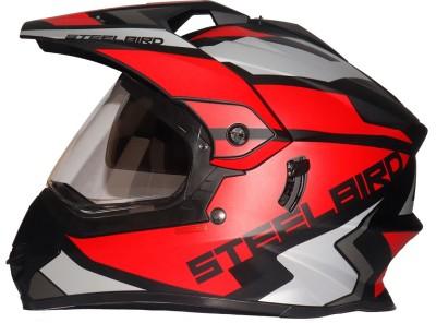 Steelbird SBH-13 Bang Silt Motocross Helmet in Matt Black / Red with Smoke visor Motorbike Helmet(Black)