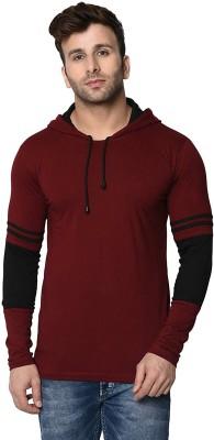HELMONT Color block Men Hooded Maroon T-Shirt