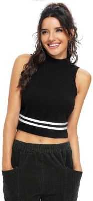 pahervesh Casual Sleeveless Solid Women Black Top