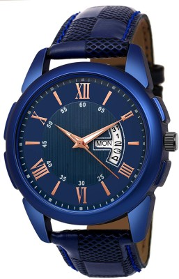 Feston F050 Blue Day_Date Leather Strap Men Casual Analog Watch  - For Boys