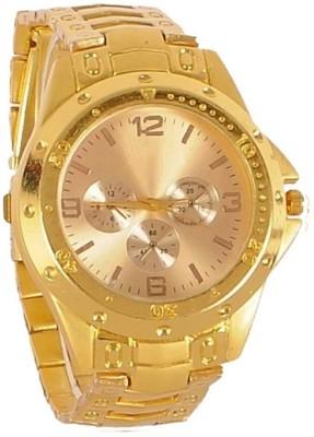 A to Z UN12744D02 Gold Dial Gold Metal Strap Watch Analog Quartz Men