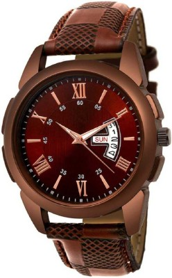 Feston F 046 Brown Day_Date Leather Strap Men Casual Analog Watch  - For Men