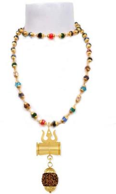 SHIV MART Energized and Natural Navratan Hakik Stone Beads Chain WITN RUDRAKSH DAMRU TRISHUL PENDANT Gold-plated Plated Metal Chain