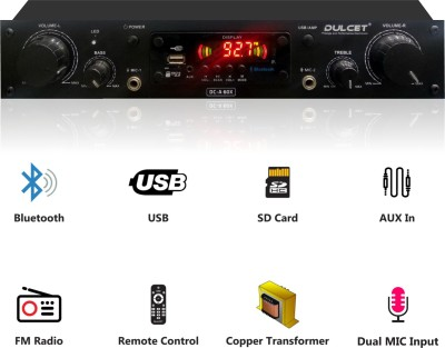 Dulcet DC-A60X 2 Channel High Power Stereo Amplifier with Big LED Display/Bluetooth/MIC Input/USB/SD Card Slot/FM Radio/AUX Input/Remote Control & Built-in Equalizer with Bass, Treble & Balance Control 240 W AV Power Amplifier(Black)