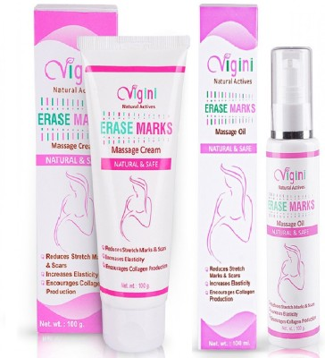 Vigini 100% Natural Actives Stretch Marks Scar Removal Oil Cream in During After Pregnancy Delivery for Women With Organic Bio Oil for Remover Hyperpigmentation ,Anti Cellulite Remove Massage Slimming Oil ,No Added Colors or Fragrance, No Mineral Oil 200 Ml(100 g)