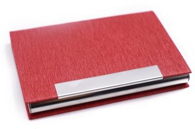 Definite Professional Leatherette 20 Card Holder(Set of 1, Red)