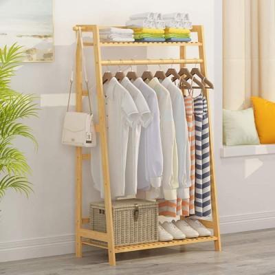 House of Quirk Wood Floor Cloth Dryer Stand ASHAPE_WOODEN_COAT_RACK(1 Tier)