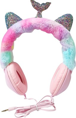 ONOTIC Mermaid and Sequence Ear Shape Over The Ear 3.5mm for Kids Wired without Mic Headset(Pink, On the Ear)