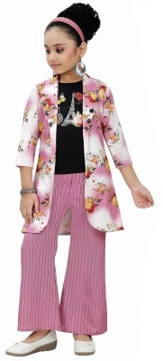 Arshia Fashions Girls Party(Festive) Top Pant(Pink)