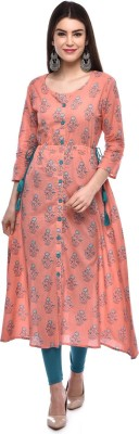 GLAM ROOTS Women Printed Frontslit Kurta(Pink)