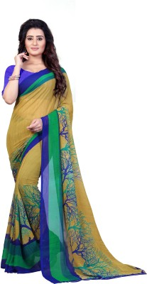 Anand Sarees Ombre, Striped, Floral Print Daily Wear Georgette Saree(Multicolor)