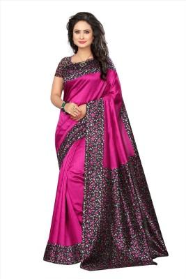Fabwomen Printed, Floral Print Fashion Art Silk Saree(Pink)