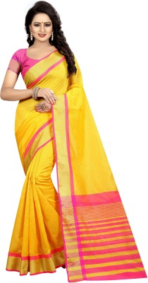 Yashika Woven Daily Wear Cotton Silk Saree(Yellow)