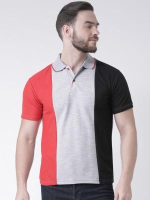 TSX Color Block Men Polo Neck Grey T-Shirt