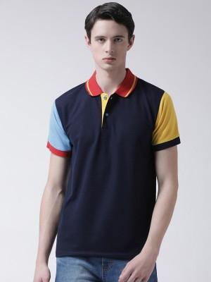 TSX Color Block Men Polo Neck Blue T-Shirt