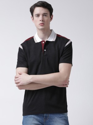 TSX Color Block Men Polo Neck Black T-Shirt