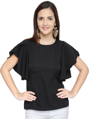 Oomph! Casual Butterfly Sleeve Solid Women Black Top