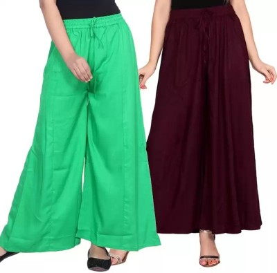 Adesa Regular Fit Women Purple, Green Trousers
