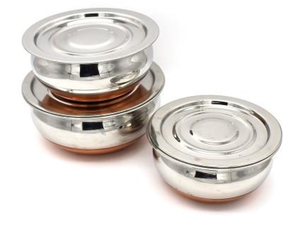 JCBB Stainless Steel Copper Bottom Handi Pot Set, Brown & Steel, 3...