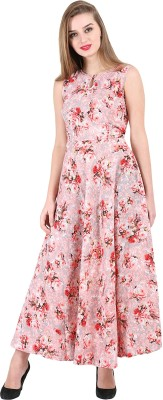 16 Always Women Fit and Flare Red, White, Pink Dress