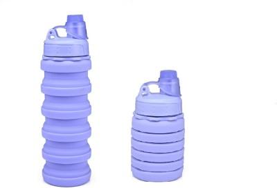 KITCHENGRAM Silicone Portable Leak Proof Foldable 500 ml Bottle(Pack of 1, Purple, Plastic)