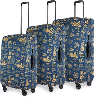 Nasher Miles Luggage Cover Eco Friendly Polyester Set of 3 Protective Luggage Covers (Dark Blue)(55, 65 & 75 Cm) Luggage Cover  (Small, Medium, Large, Dark Blue)